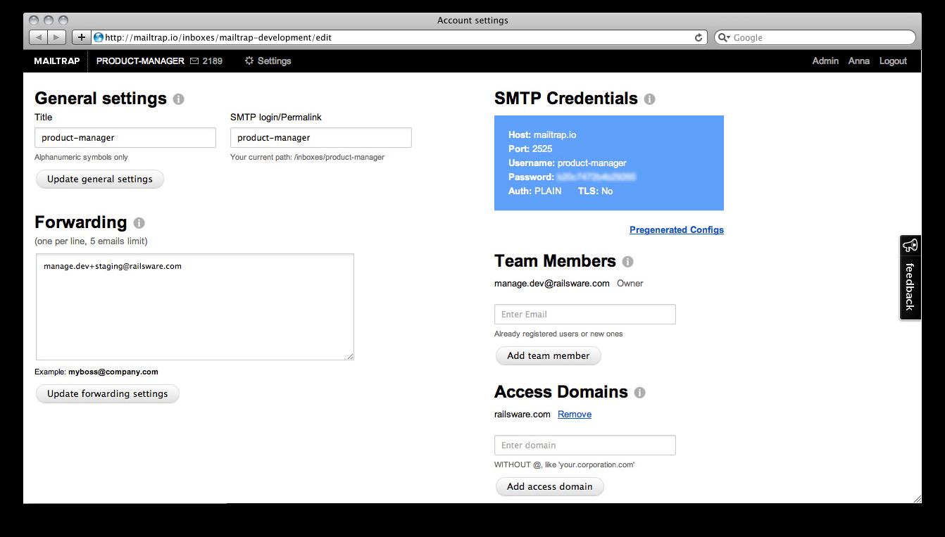 Account settings. RoR development.