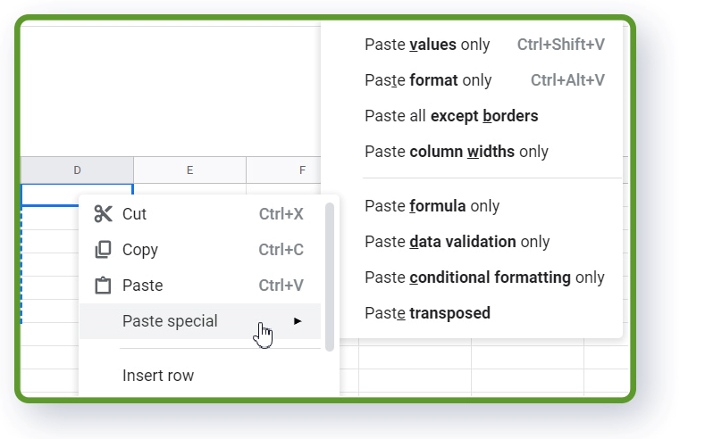 Google Spreadsheets paste shortcuts