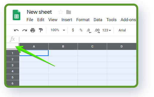 Google Sheets structure - select the whole sheet