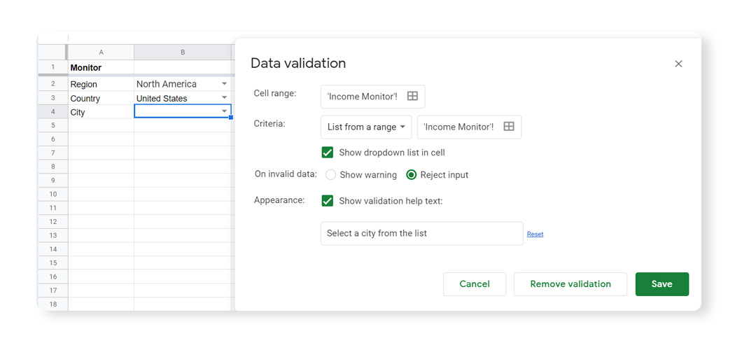 Data Validation in Google Sheets