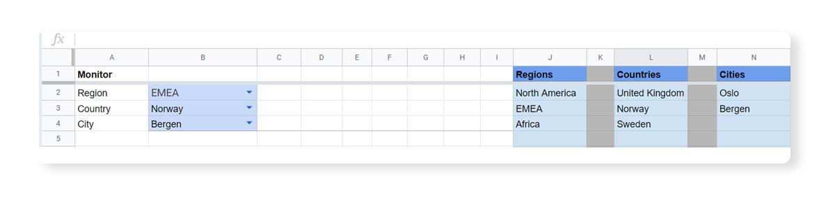 Google Sheets data validation