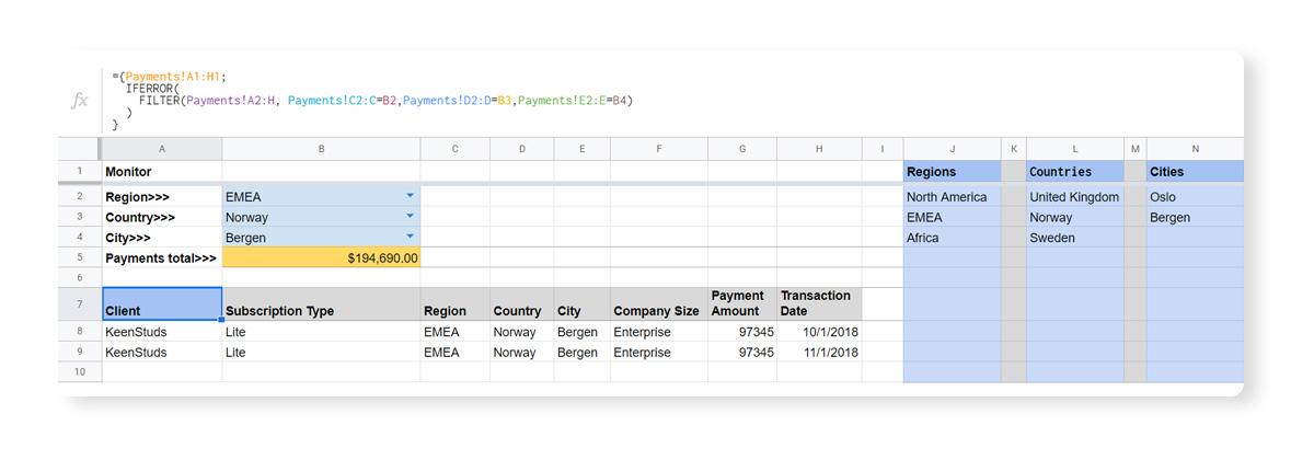 Spreadsheet data validation